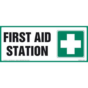 First Aid Station Sign With Graphic