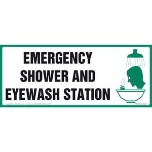 Emergency Shower And Eyewash Station Sign With Graphic