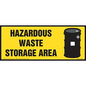 Hazardous Waste Storage Area Sign With Graphic