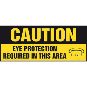 Caution: Eye Protection Required In This Area With Graphic - OSHA Sign