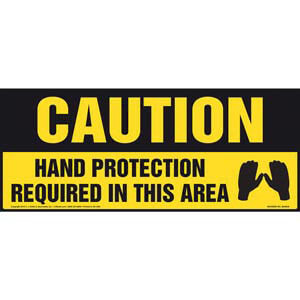 Caution: Hand Protection Required In This Area With Graphic - OSHA Sign