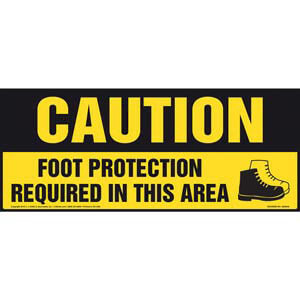 Caution: Foot Protection Required In This Area With Graphic - OSHA Sign