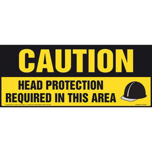 Caution: Head Protection Required In This Area With Graphic - OSHA Sign