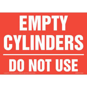 Empty Cylinders: Do Not Use Sign