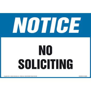 Notice: No Soliciting Sign - OSHA