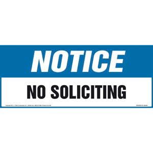 Notice: No Soliciting Sign - OSHA, Long Format
