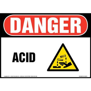 Danger: Acid Sign with Icon - OSHA