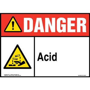 Danger: Acid Sign with Icon - ANSI