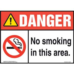 Danger: No Smoking In This Area Sign - ANSI, Landscape