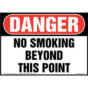 Danger: No Smoking Beyond This Point Sign - OSHA