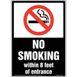 No Smoking Within 8 Feet of Entrance Sign