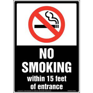No Smoking Within 15 Feet of Entrance Sign