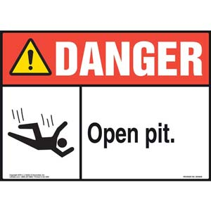 Danger: Open Pit Sign with Icon - ANSI