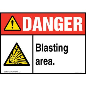 Danger: Blasting Area With Graphic - ANSI Sign