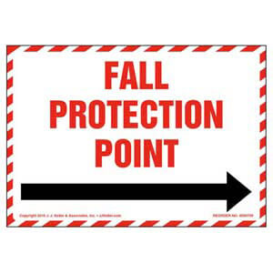 Fall Protection Anchor Point With Right Arrow Graphic Label