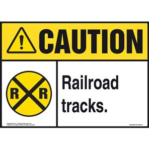 Caution: Railroad Tracks Sign with Icon - ANSI