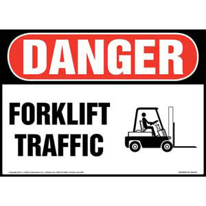 Danger: Forklift Traffic Sign with Icon - OSHA