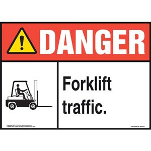 Danger: Forklift Traffic Sign with Icon - ANSI