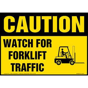 Caution: Watch for Forklift Traffic Sign with Icon - OSHA