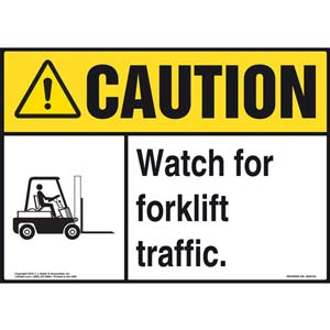 Caution: Watch for Forklift Traffic Sign with Icon - ANSI