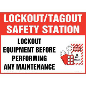 Lockout/Tagout Safety Station Lockout Equipment Before Performing Any Maintenance With Graphic Sign