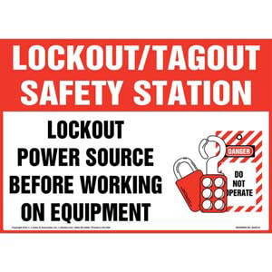 Lockout/Tagout Safety Station Lockout Power Source Before Working On Equipment With Graphic Sign
