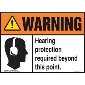 Warning: Hearing Protection Required Beyond This Point With Graphic - ANSI Sign