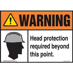 Warning: Head Protection Required Beyond This Point With Graphic - ANSI Sign