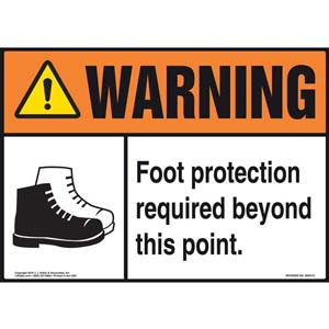 Warning: Foot Protection Required Beyond This Point With Graphic - ANSI Sign