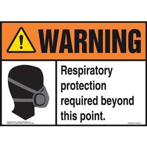 Warning: Respiratory Protection Required Beyond This Point With Graphic - ANSI Sign
