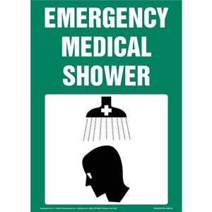 Emergency Medical Shower With Graphic Sign