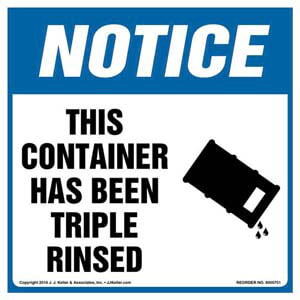 Notice: This Container Has Been Triple Rinsed Label with Icon - OSHA