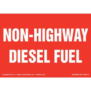 Non-Highway Diesel Fuel Label - Red