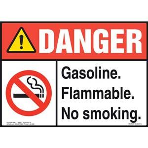 Danger: Gasoline Flammable No Smoking Sign - ANSI