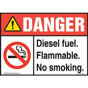 Danger: Diesel Fuel Flammable No Smoking Sign - ANSI