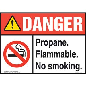 Danger: Propane Flammable No Smoking Sign with Icon - ANSI
