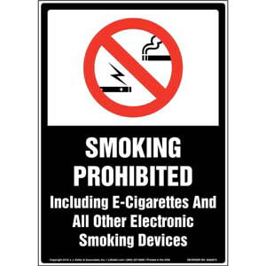 Smoking Prohibited Including E-Cigarettes and Electronic Smoking Devices Sign