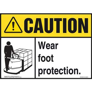 Caution: Wear Foot Protection With Graphic - (Yellow/Black) ANSI Sign