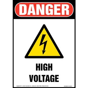 Danger High Voltage With Graphic - OSHA Sign