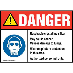 Danger: Respirable Crystalline Silica Sign - ANSI, Facepiece Respirator Icon