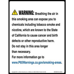 California Prop 65 Warning Sign: Smoking Area Contains Chemicals Known to Cause Cancer/Reproductive Harm
