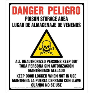 Danger: Poison Storage Area, Keep Out Sign - California