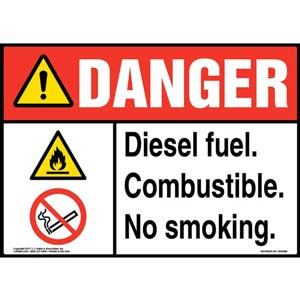 Danger: Diesel Fuel Combustible No Smoking Sign - ANSI