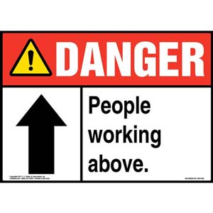 Danger: People Working Above Sign - ANSI