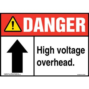 Danger: High Voltage Overhead - ANSI Sign