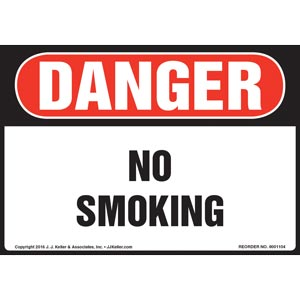 Danger: No Smoking - OSHA Sign