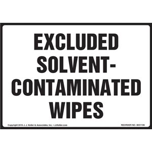 Excluded Solvent-Contaminated Wipes Label