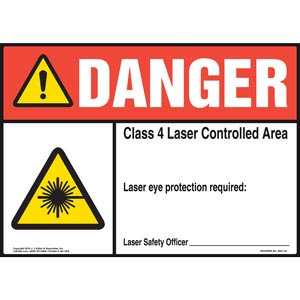 Danger: Laser Eye Protection Required - ANSI Sign