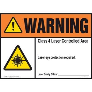Warning: Laser Eye Protection Required - ANSI Sign