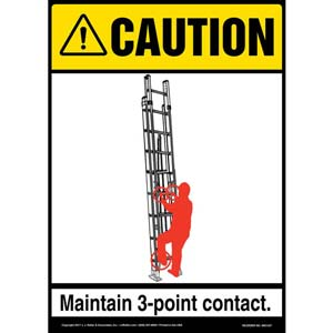 Caution: Portable Ladder 3-Point Contact - OSHA Sign